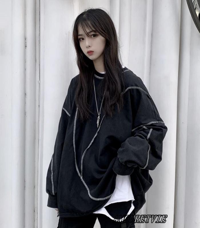 2019 春 夏 レディース 新作 トップス トレーナー スウェット ロング 黒 白 アシンメトリー オルチャン 韓国ファッション 522
