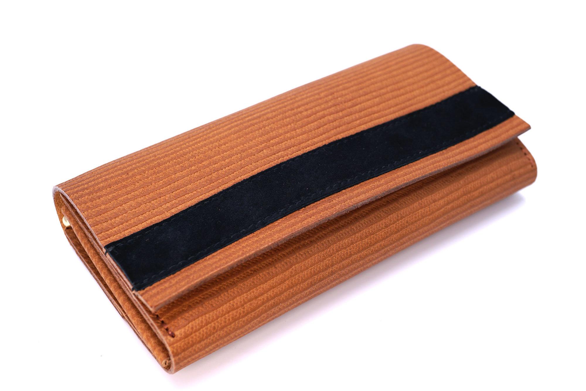 カードが整理しやすい長財布(麦わら帽子柄、本革製)
