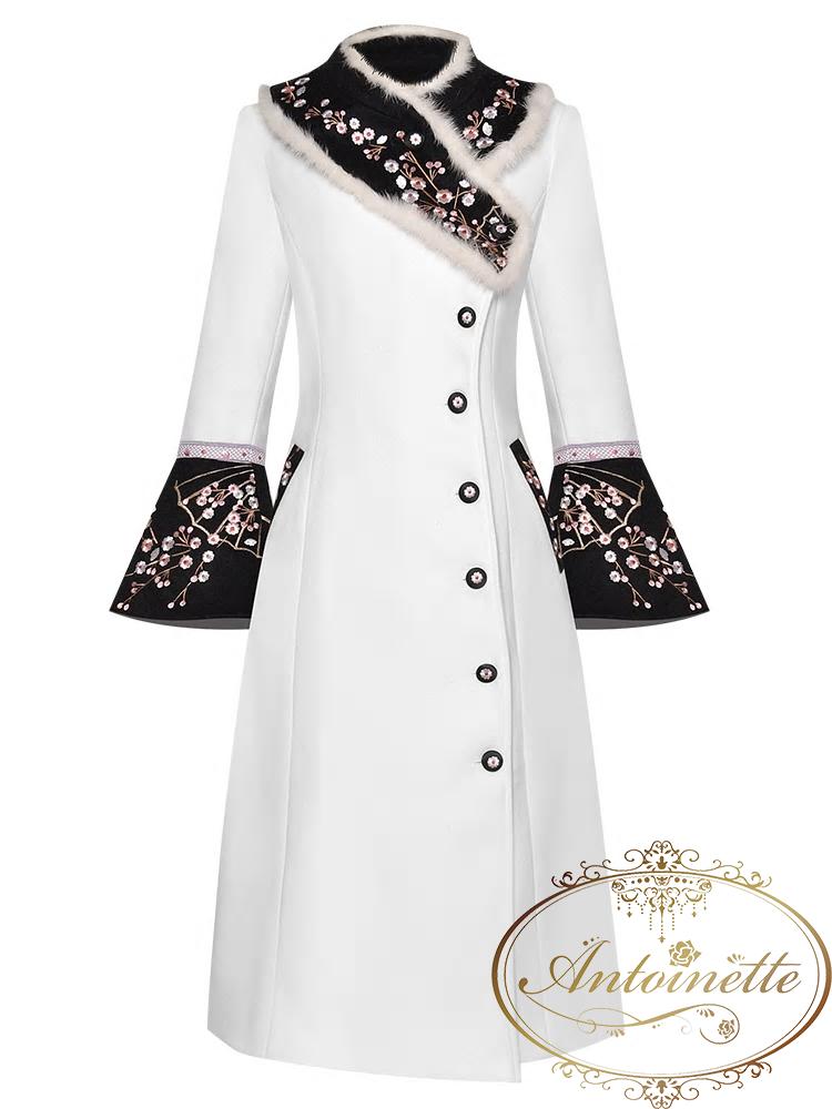 Women Autumn Rabbit Hair Collar Flower Embroidery Long Sleeve Single Breasted Woolen Overcoat Outwear New