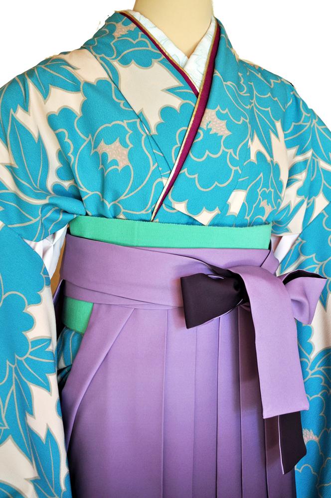 卒業式袴レンタル!紫ぼかしに大胆な刺繍花柄の袴&『和風館パーティー着物』単色水色花柄ladies'hakama1[往復送料無料] - 画像3