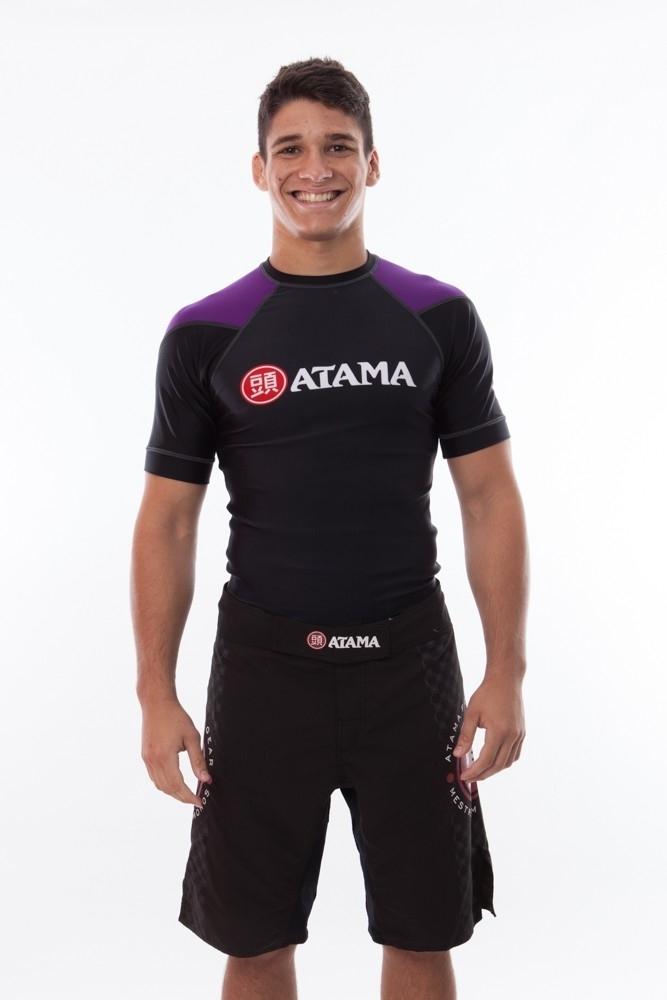 ATAMAのラッシュガード半袖 黒ベース/紫