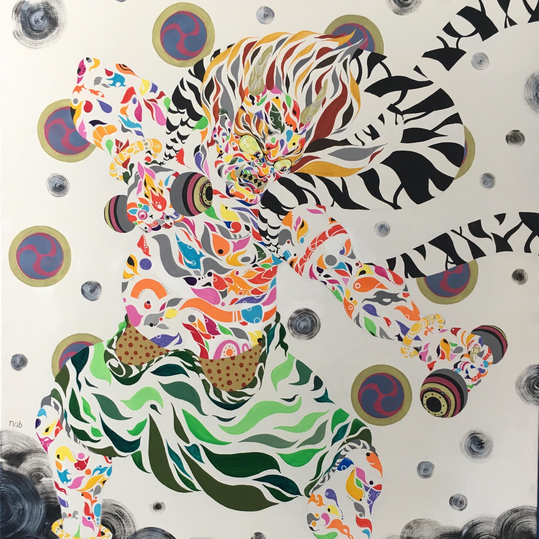 絵画 絵 ピクチャー 縁起画 モダン シェアハウス アートパネル アート art 14cm×14cm 一人暮らし 送料無料 インテリア 雑貨 壁掛け 置物 おしゃれ 雷 カミナリ 神 神様 日本 日本画 カラフル 現代アート ロココロ 画家 : nob 作品 :  雷神