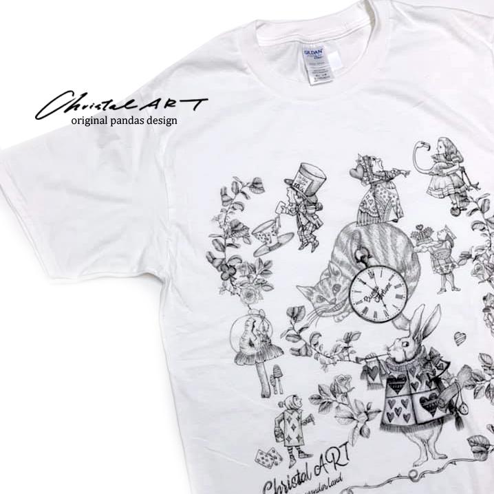Tシャツ単体(白地)◆アリスワンダーランド 柄