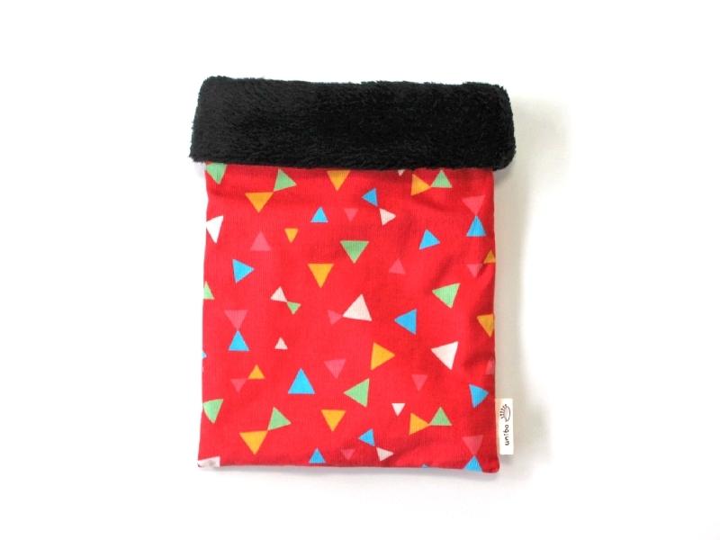 ハリネズミ用寝袋 M(冬用) コーデュロイ×ボアフリース トライアングル ピンク