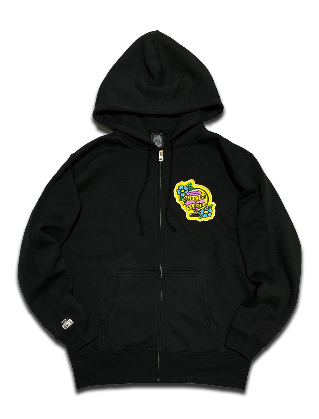 PEACE PATCH ZIP HOODIE black