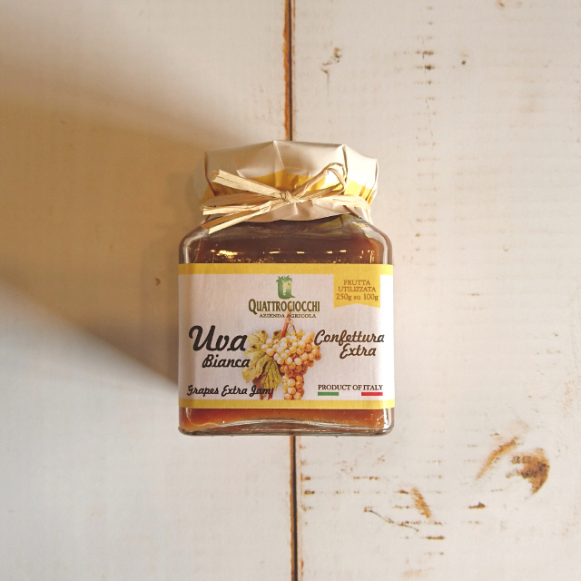 【砂糖不使用】クアットロチョッキ農園 ブドウジャム(白) 350g