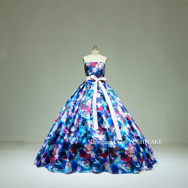 【お客様専用ページ】ウエディングドレス(パニエ無料) ブルー花柄 披露宴/二次会 ※制作期間3週間から6週間