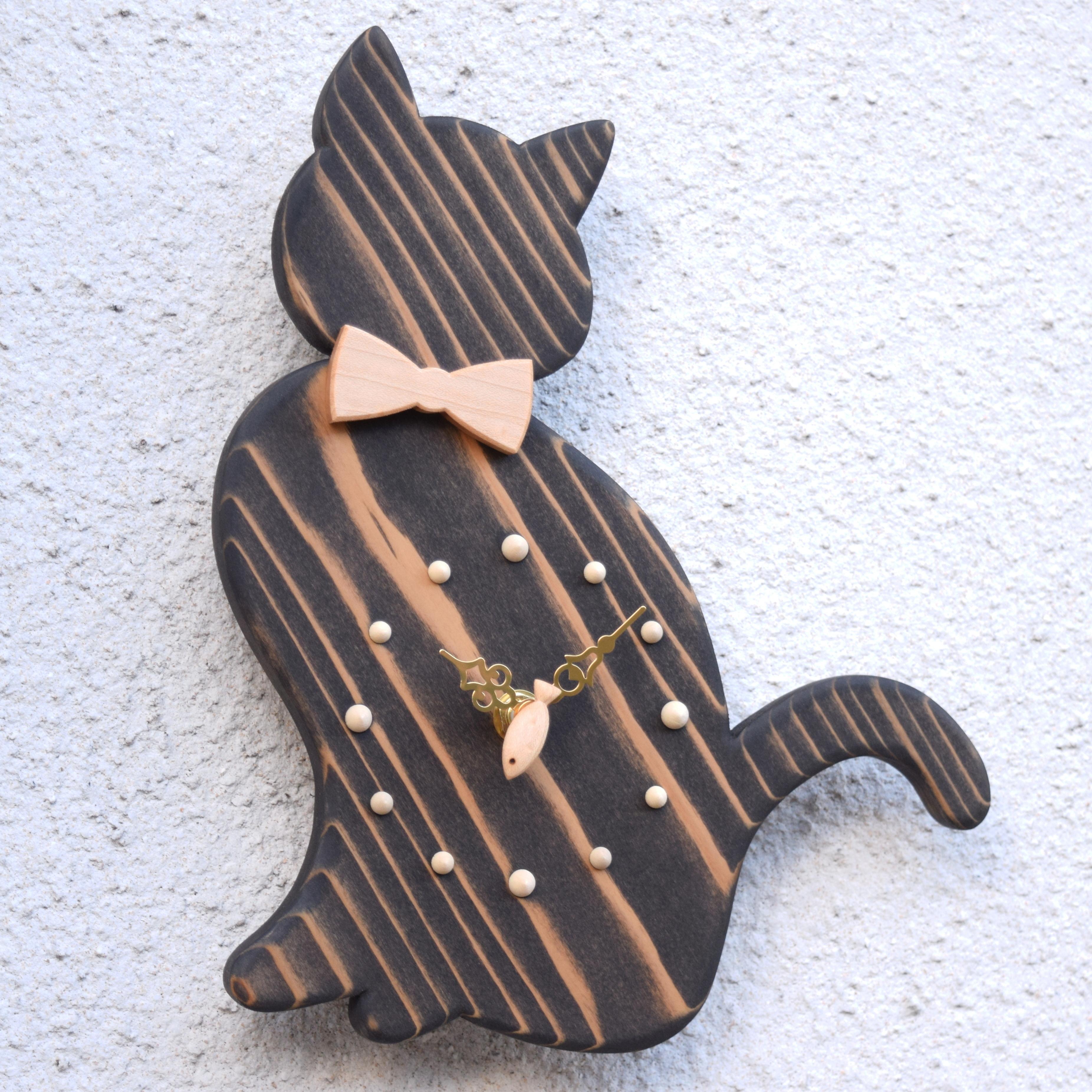 【魚秒針】掛時計『おすましネコ ブラック』【智頭杉】