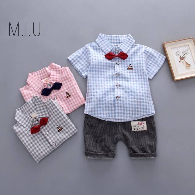 ギンガムチェックシャツ上下セット #MIU516