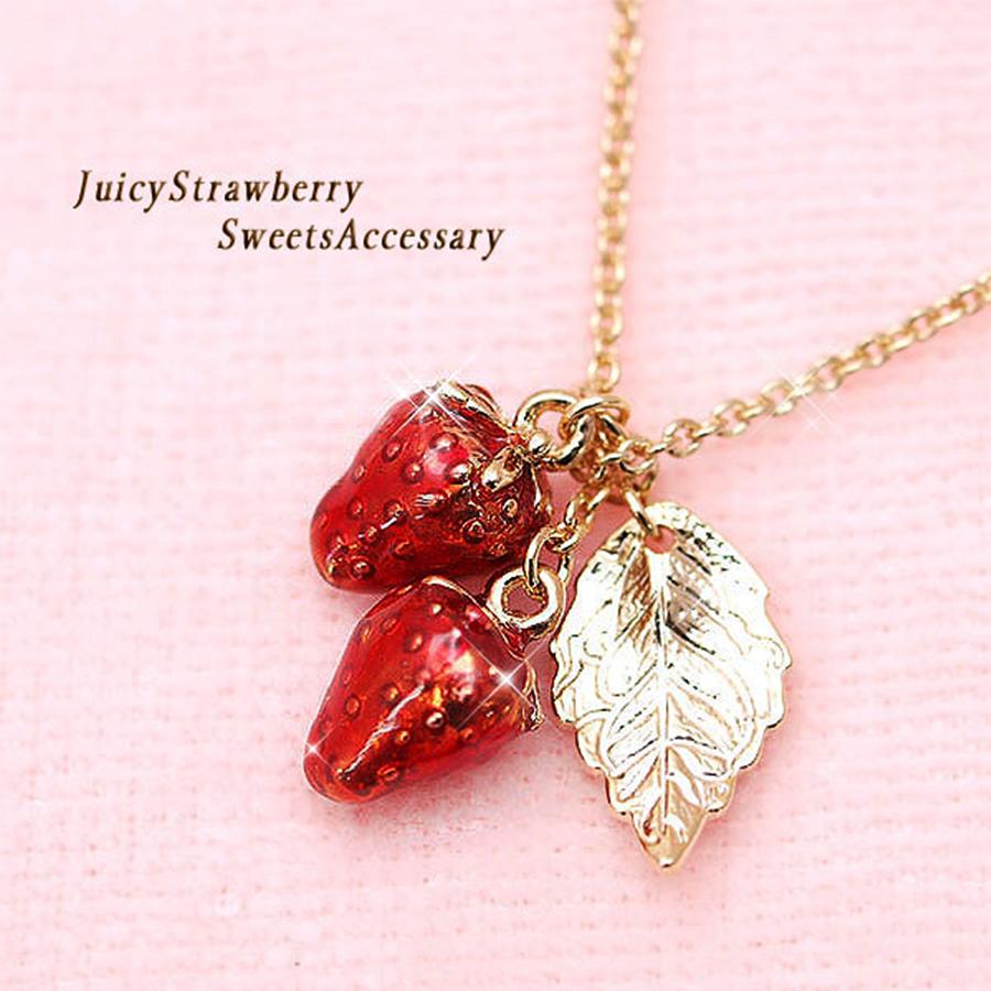【キュートで高級感のある苺】金メッキアクセサリー ジューシーcuteなイチゴ ネックレス