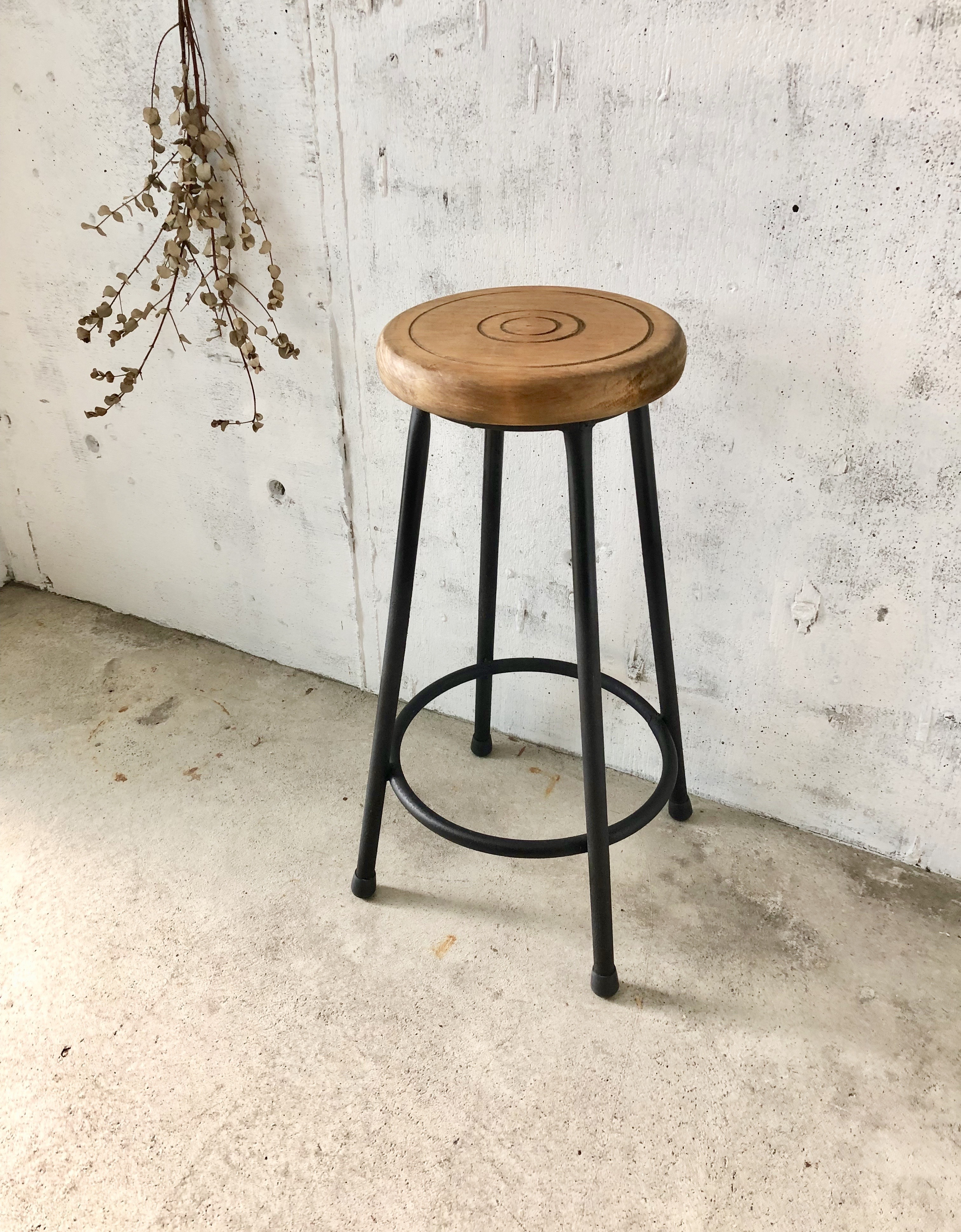 古材×鉄脚のハイスツール[古家具]