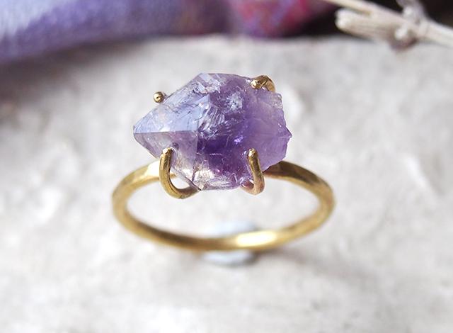 [一点物]原石のアメジストのリング