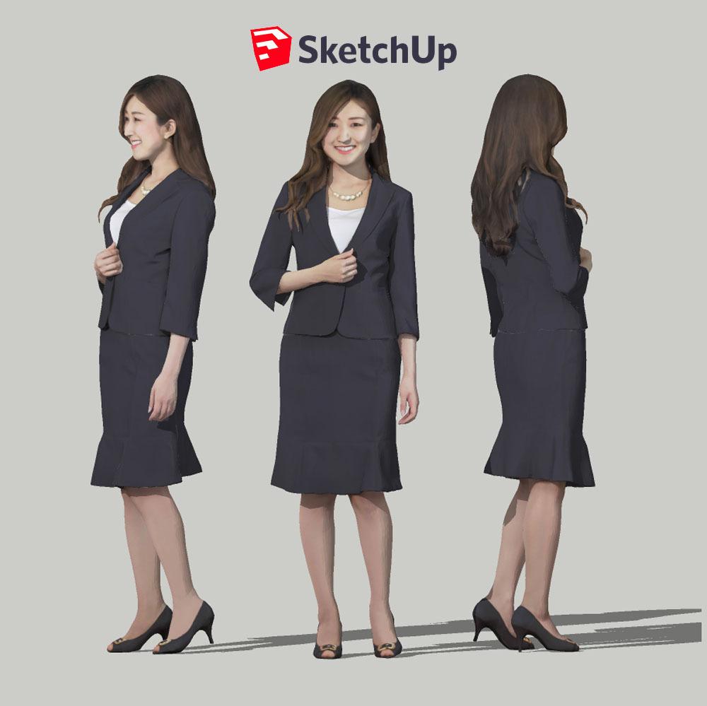 SketchUp素材 3D人物モデル ( Posed ) 055_Mao - 画像1