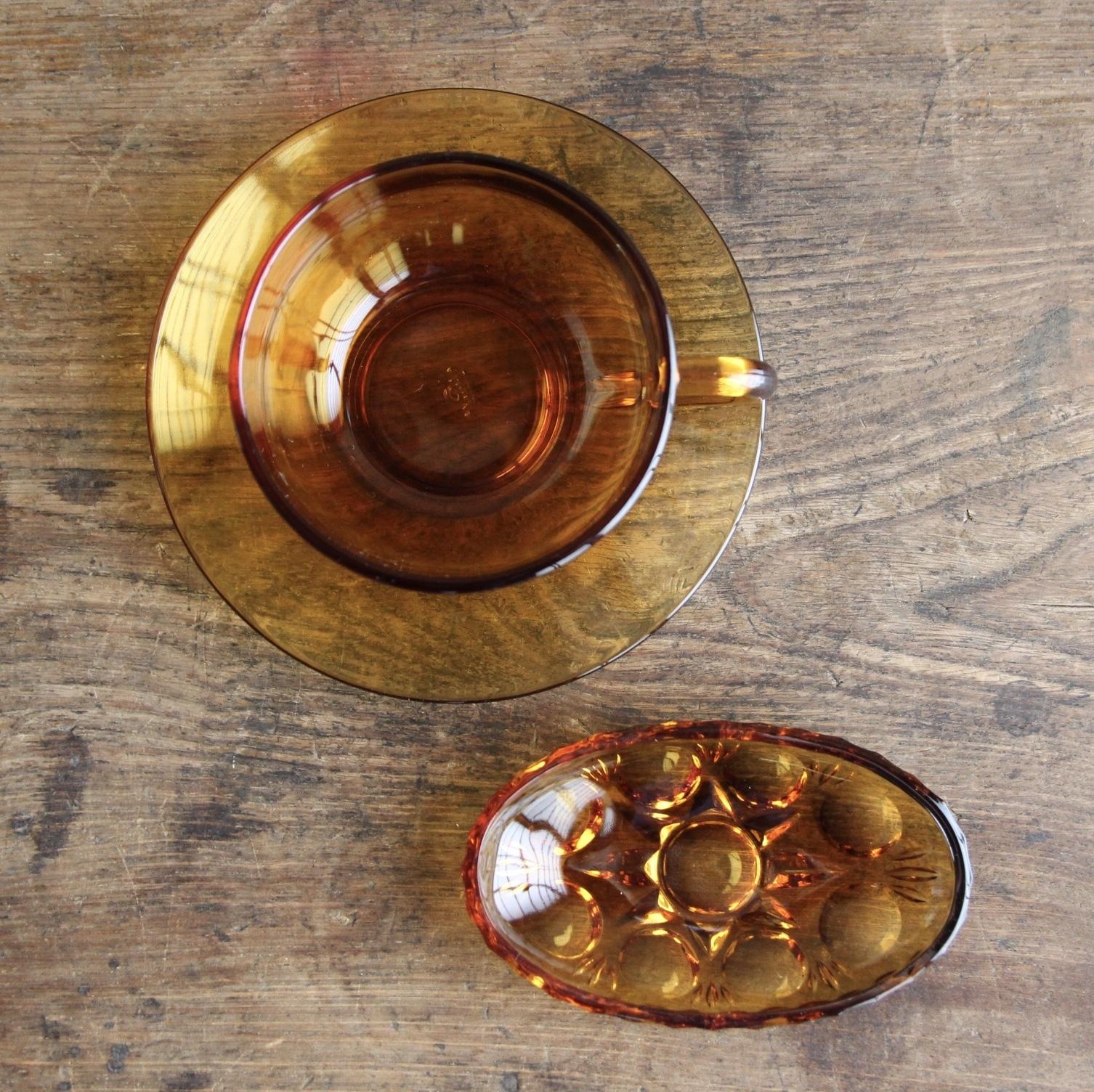 アデリア アンバーカップアンドソーサーと小皿 在庫3セット