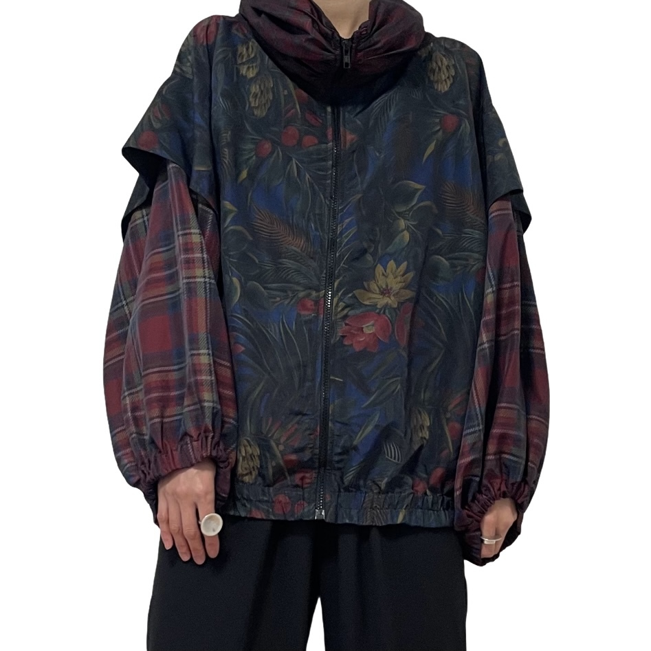 80's KAOS plaid and Botanical Pattern Nylon Jacket
