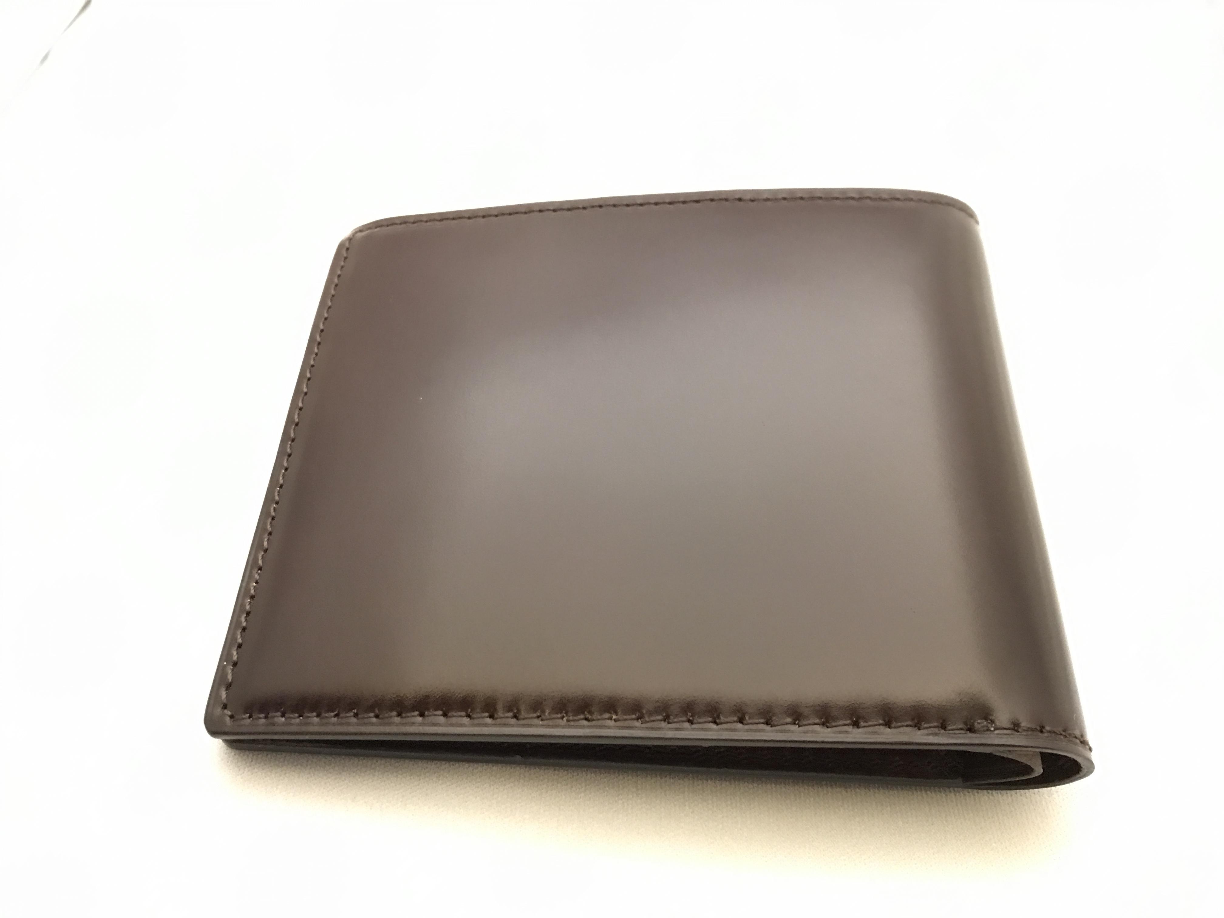 最高級コードバン二つ折札入れ財布 チョコ