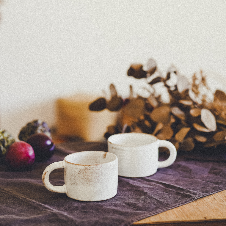 陶器のマグカップ ペアセット ヤシの葉のケース入り / Ceramic Mug Pair Set