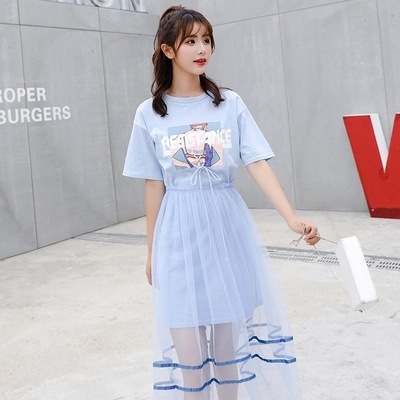 【set】プリント配色Tシャツ+スカートセットアップ18795602