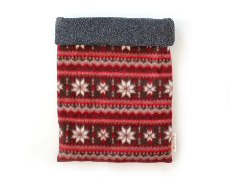 ハリネズミ用寝袋 L(冬用) フリース×フリース 雪の結晶 赤