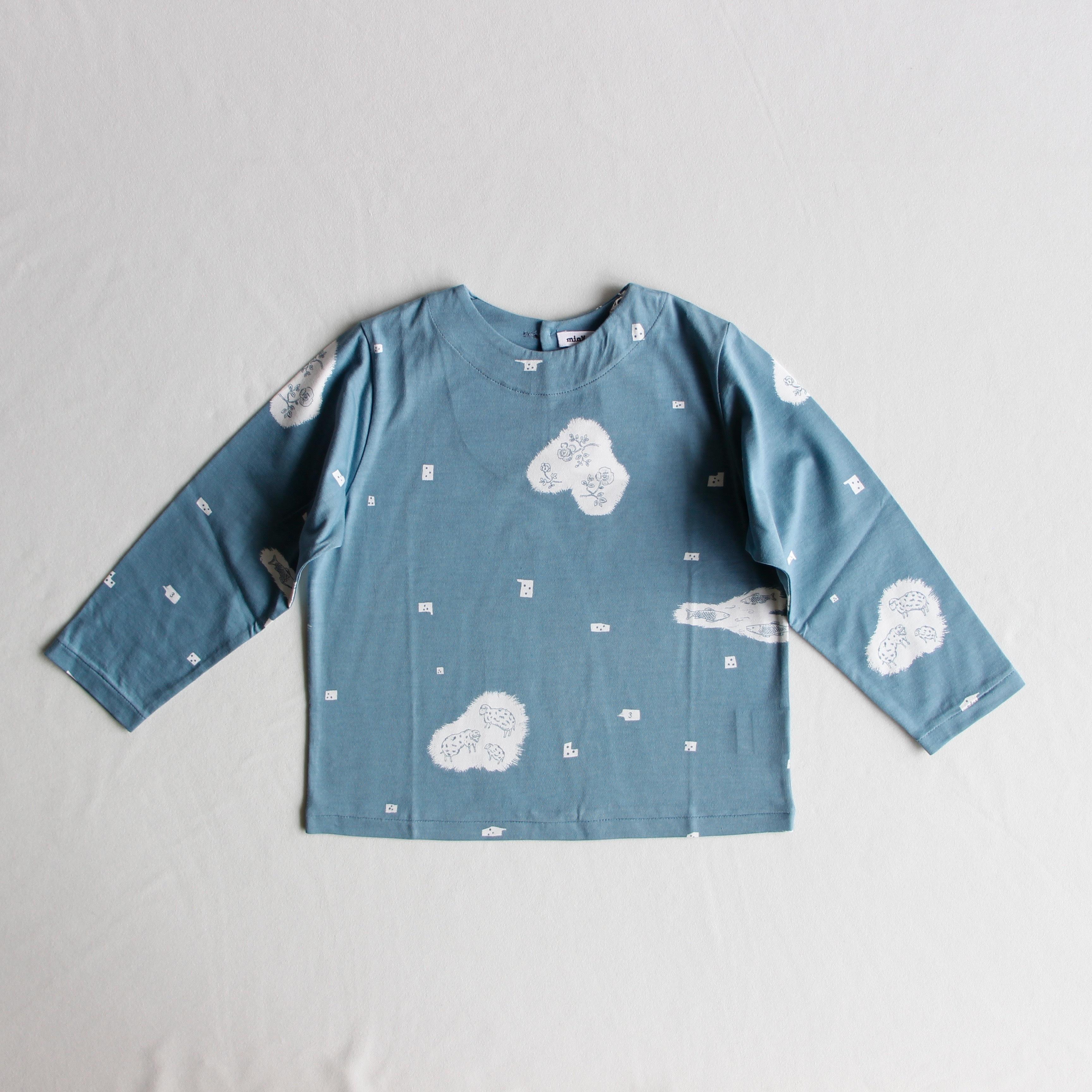 《mina perhonen 2019AW》trois 長袖カットソー / blue / 110-140cm