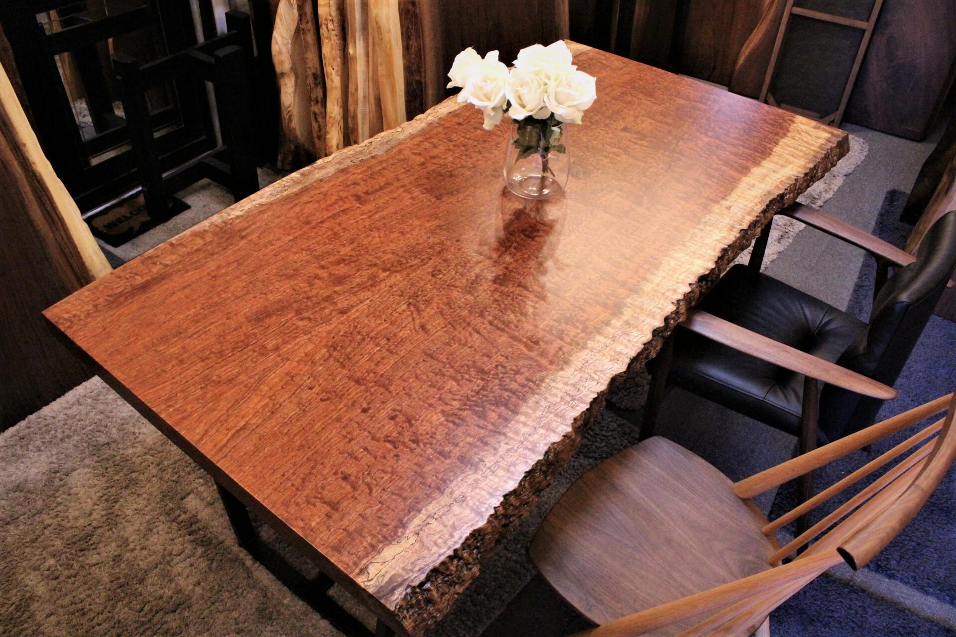 ブビンガ 極み玉杢 2枚剥ぎテーブル 1800×900-950×56 19823
