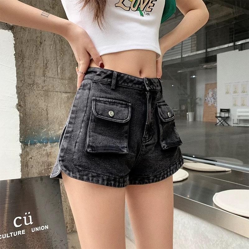 w pocket black short pants