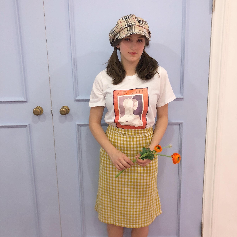 ♡mid gingham skirt