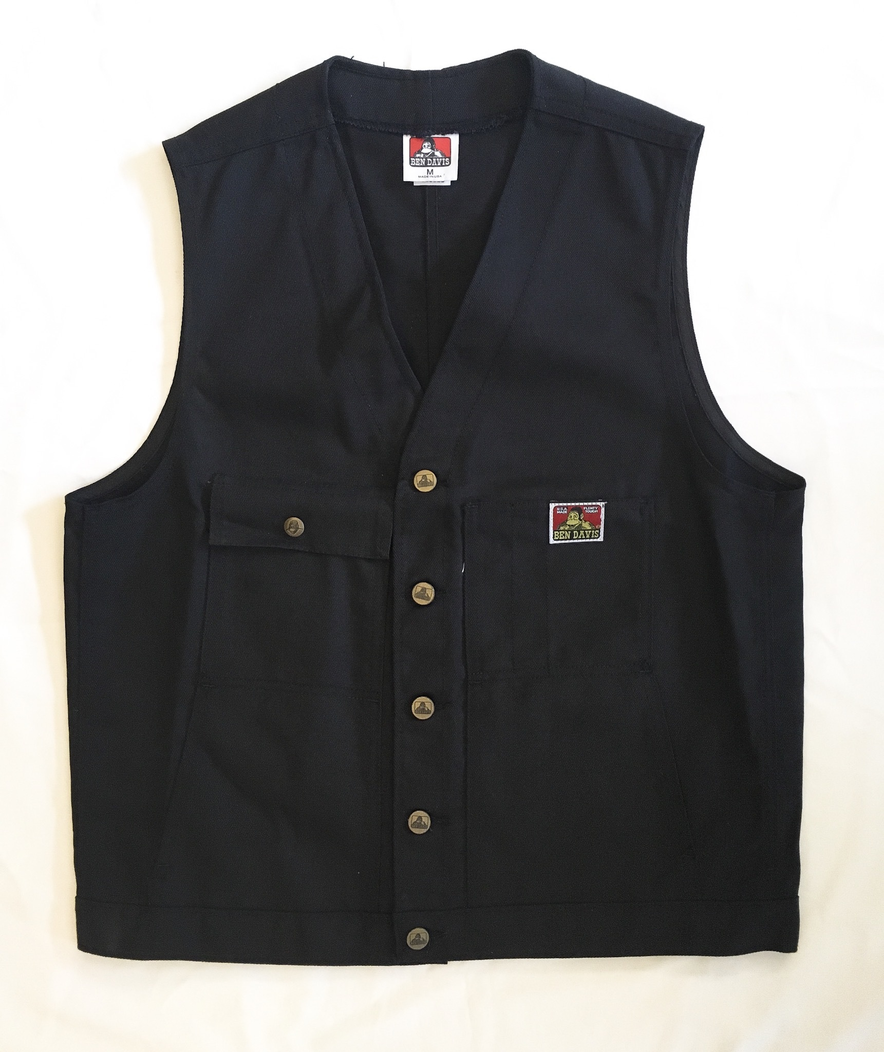 "BEN DAVIS WORK VEST -BLACK ""Made in USA"" <Deadstock>"