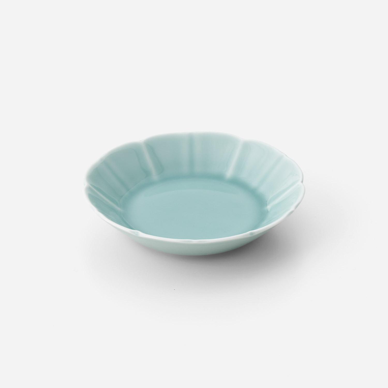 青磁花型 深平皿