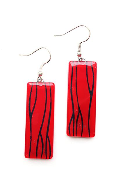 デザイナーズガラス レクタングルピアス Red(イヤリング変更可)