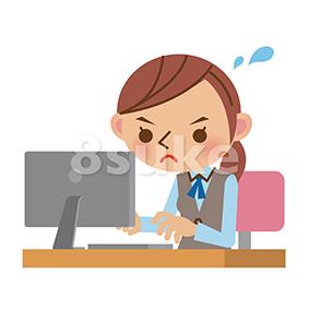 イラスト素材:パソコンを使って忙しそうに働くOL・事務職の女性(ベクター・JPG)