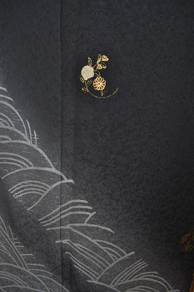 ワイドサイズ(トール&ワイド)■訪問着レンタル■濃いグレー裾ぼかしhuwide7〔往復送料無料〕 - 画像4