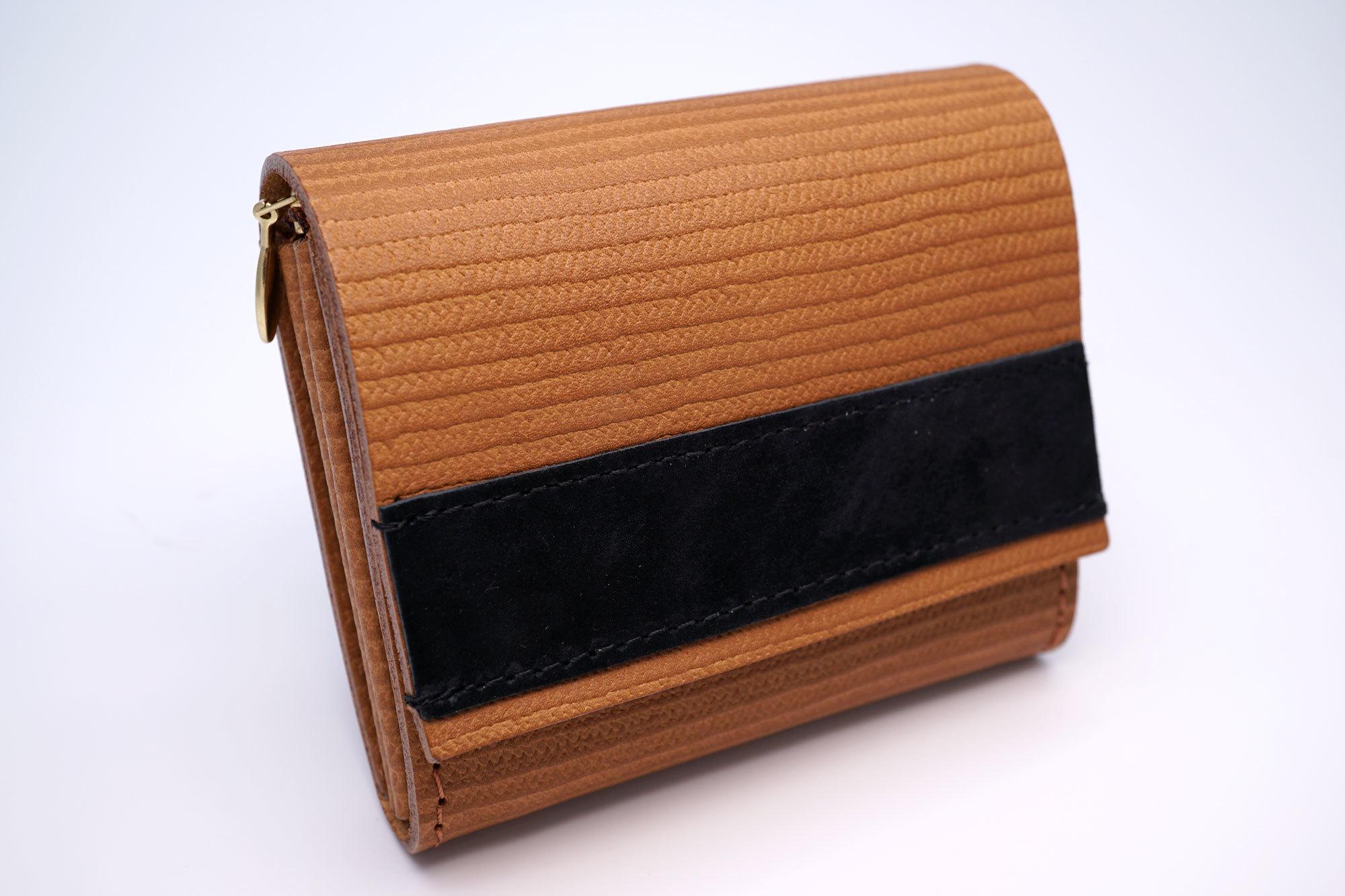 身軽にキメたい時のコンパクト財布(麦わら帽子柄、本革製)