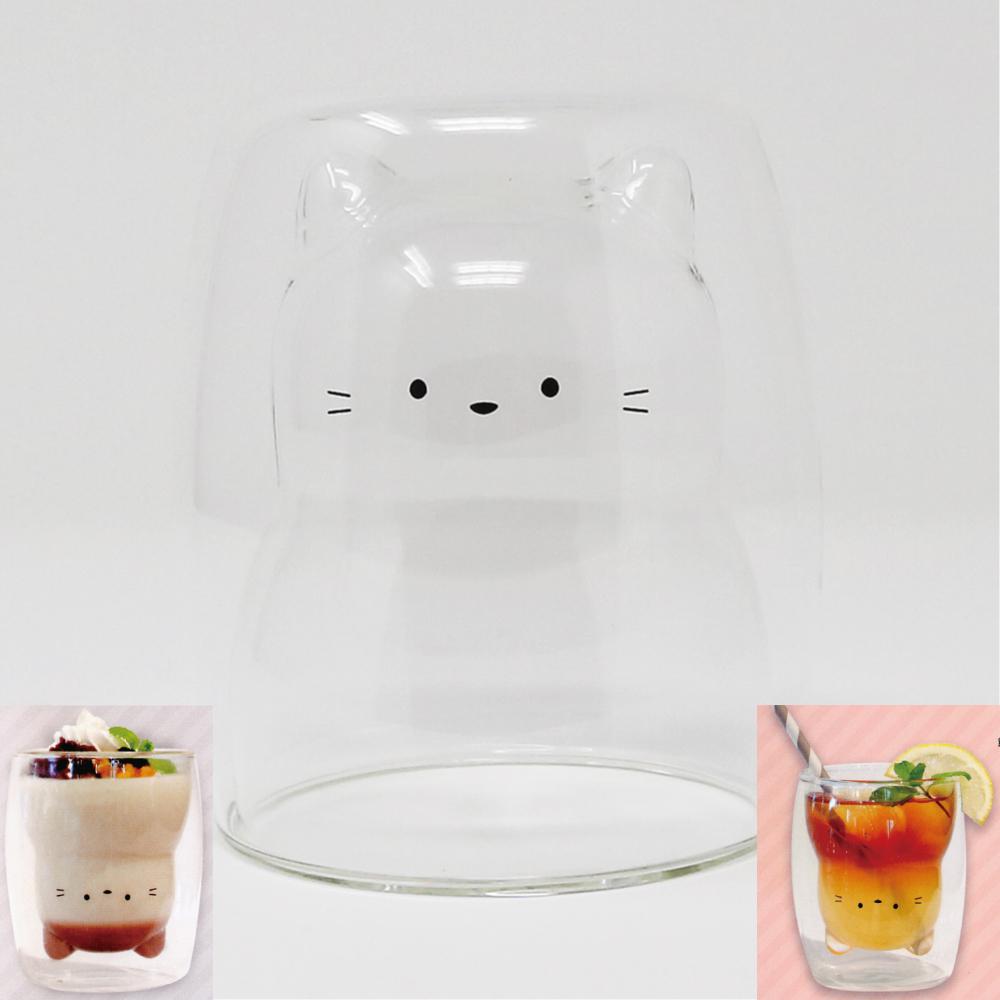 猫グラス(耐熱ガラス2重グラス)