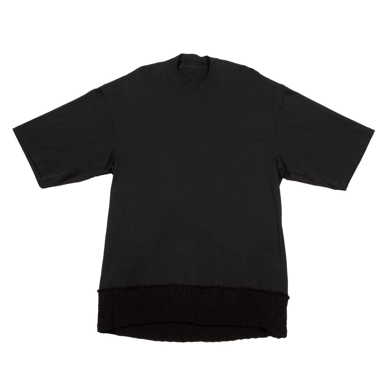 [ 2021 春夏 予約商品 ] 737CUM12-BLACK/ ニットヘム Tシャツ / 12月入荷予定