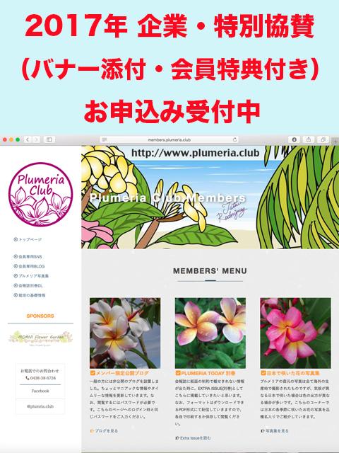 【企業・特別サポーター】Plumeria Club特別サポート会員の年会費(2017年)