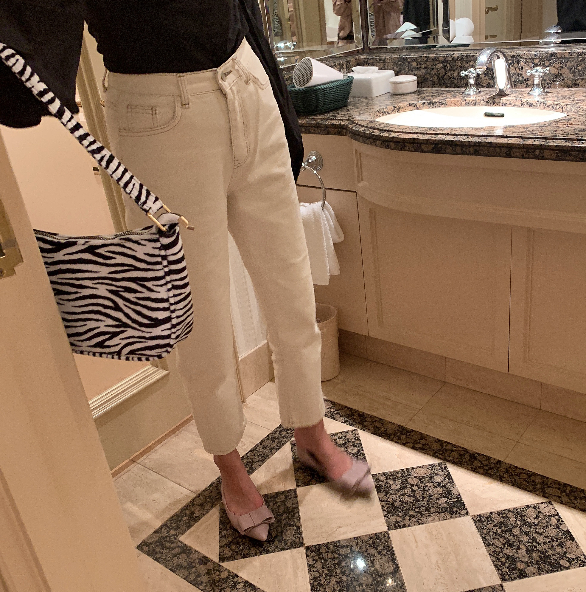 straight ivory pants