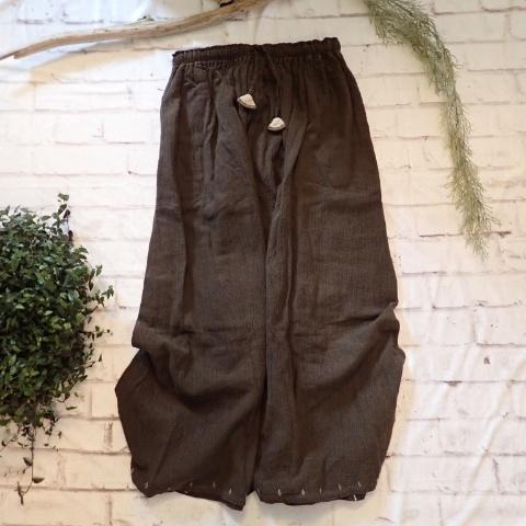チェンマイ 草木染め茶色のマキシ丈スカート