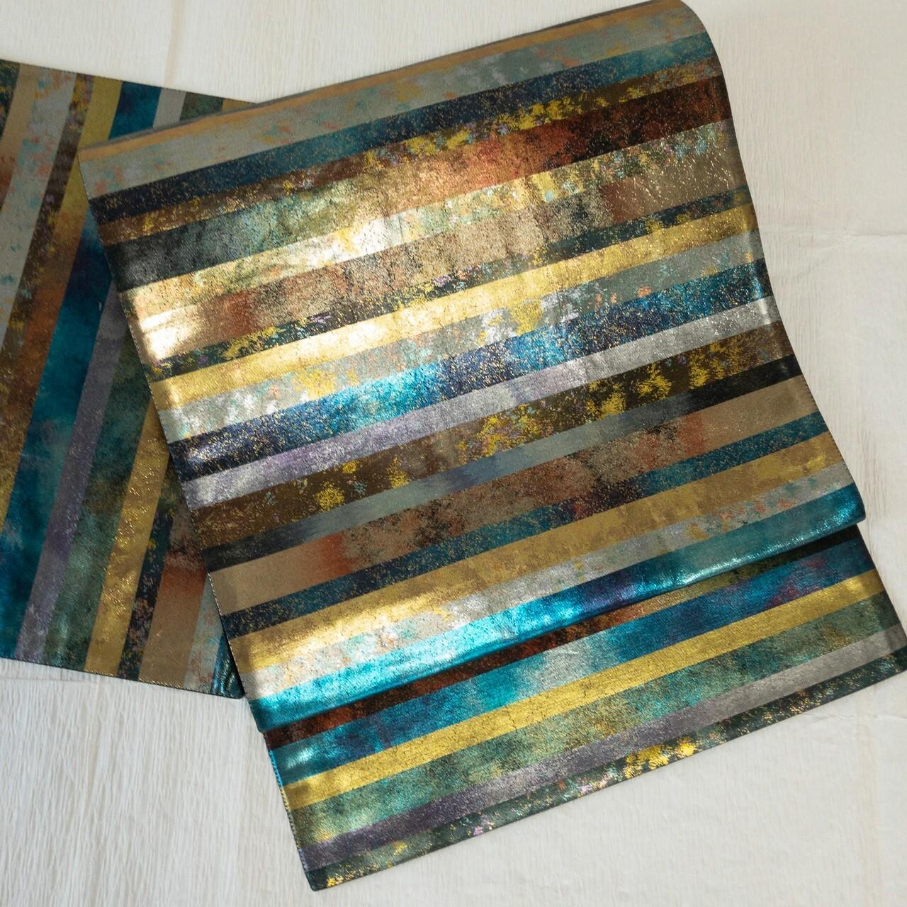 【モダン】袋帯 箔シャイニー多色縞 六通 ゴールド×ターコイズブルー