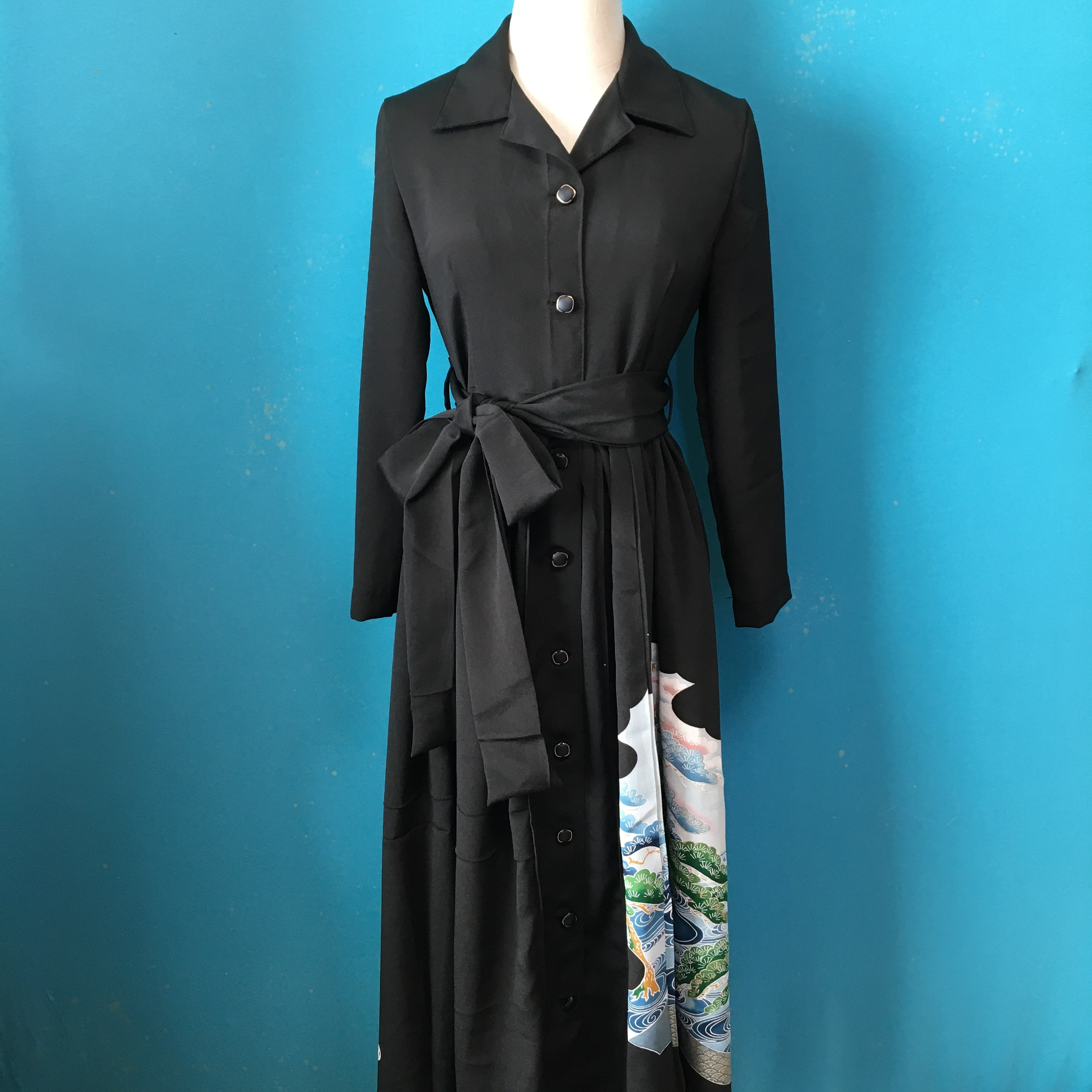 Vintage black kimono shirt dress/ US 6