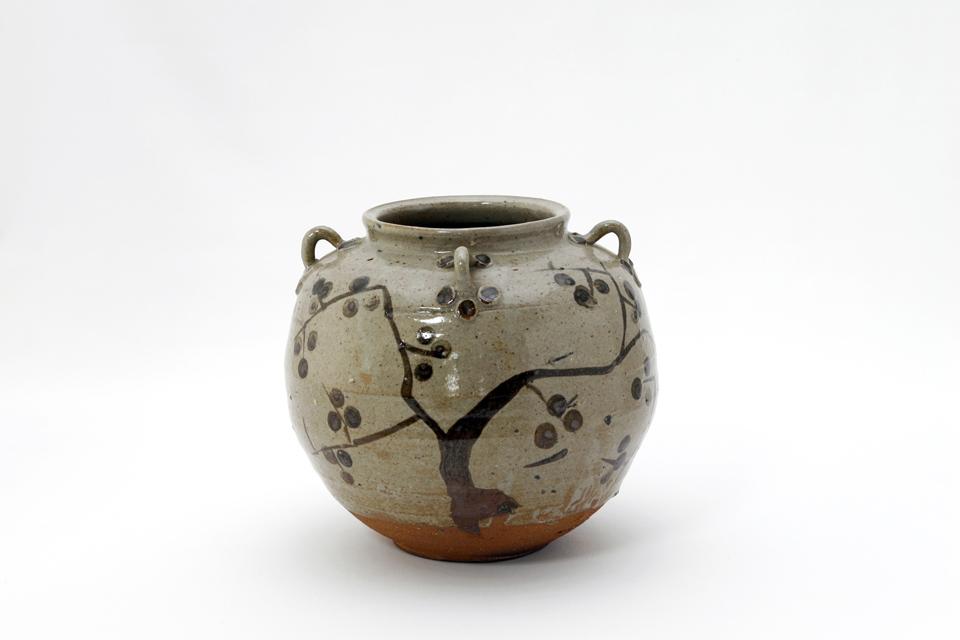 鉄絵柿文 耳壺(絵唐津)