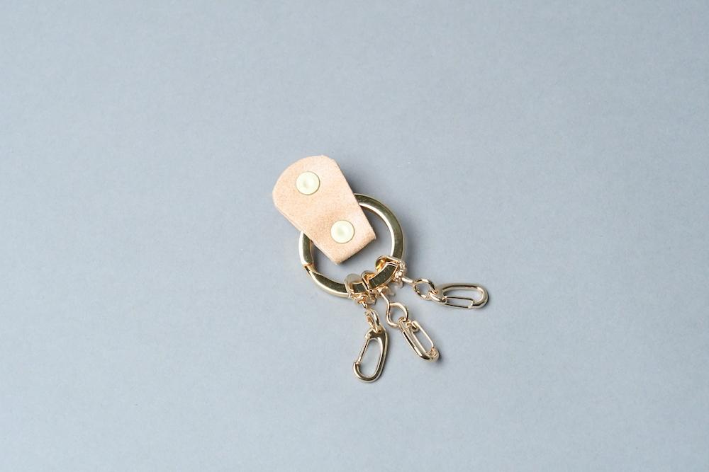 KEY RING_本革真鍮キーリング_■ゴールド・ライトベージュ■ - 画像2