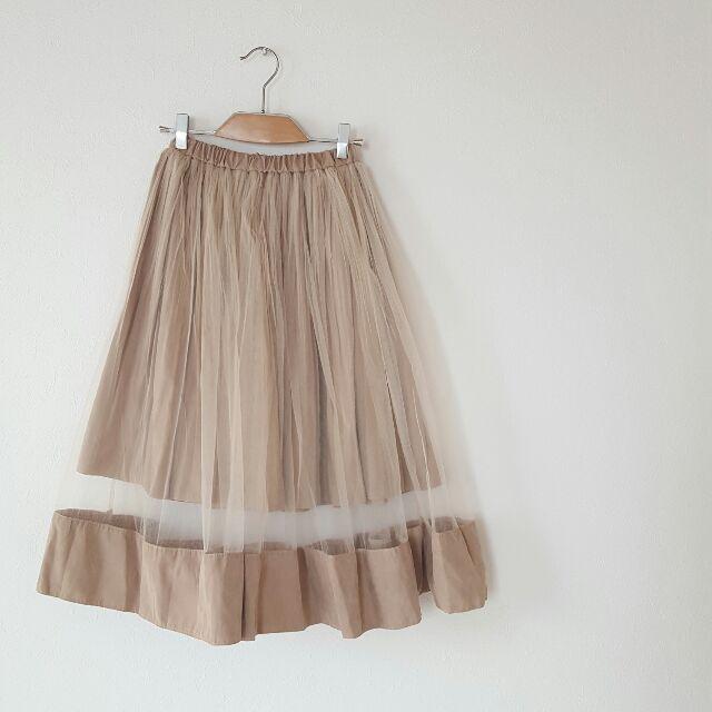 スエード×チュールフレアスカート