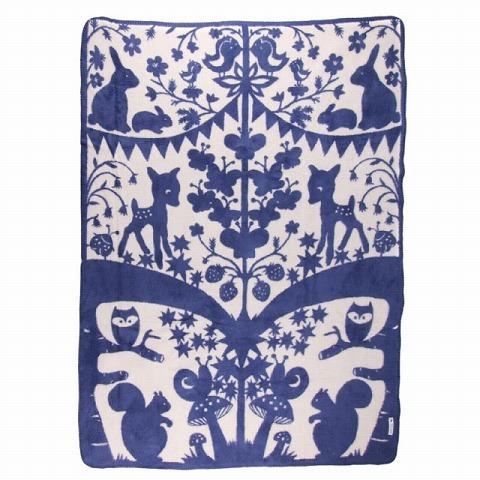 fabulous goose ファビュラスグース オーガニックコットンブランケット フェアリーテール フォレスト 75 x 100 (ブルー)