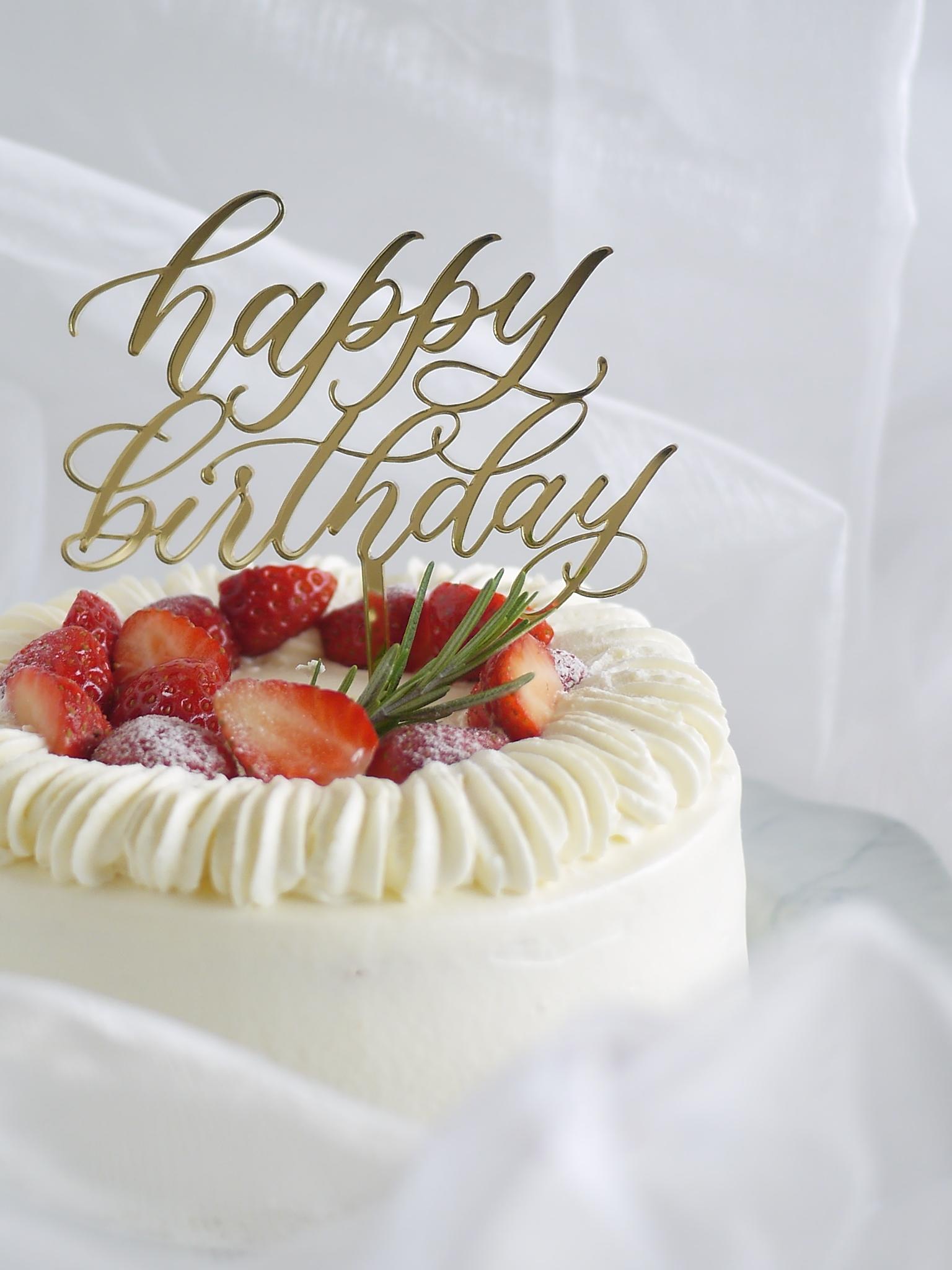 happy birthdayオリジナルケーキトッパー(小)
