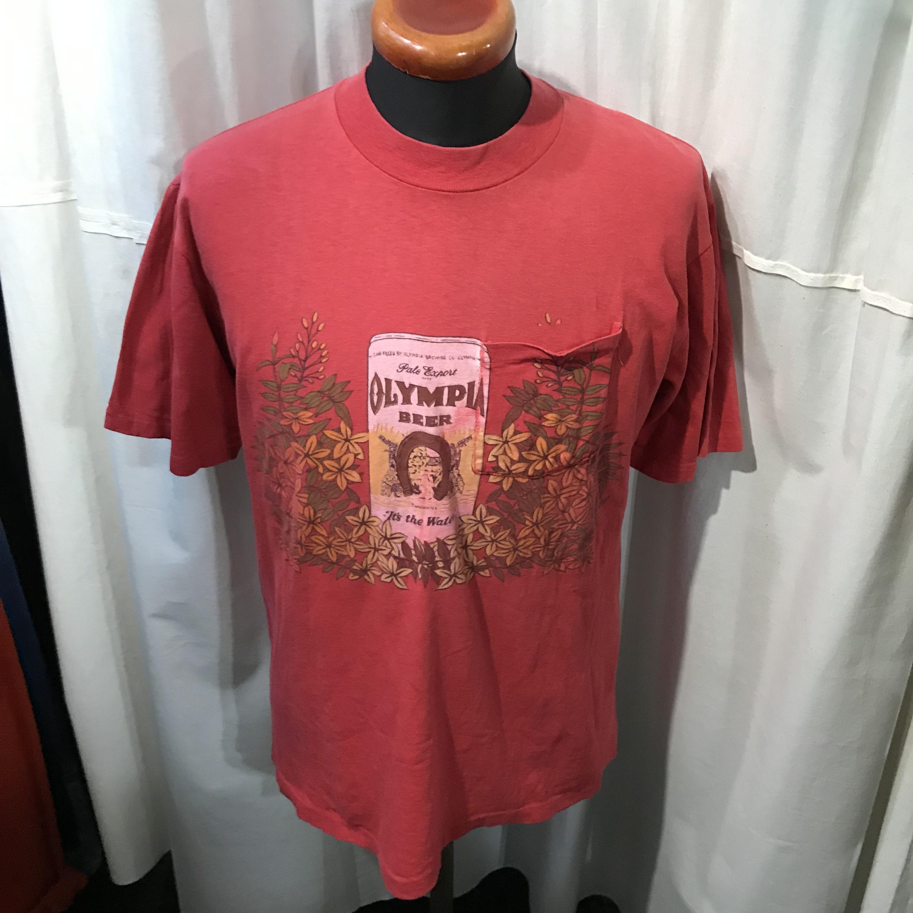 アメリカ製 OLYMPIA BEER オリンピアビール ポケットTシャツ メンズL