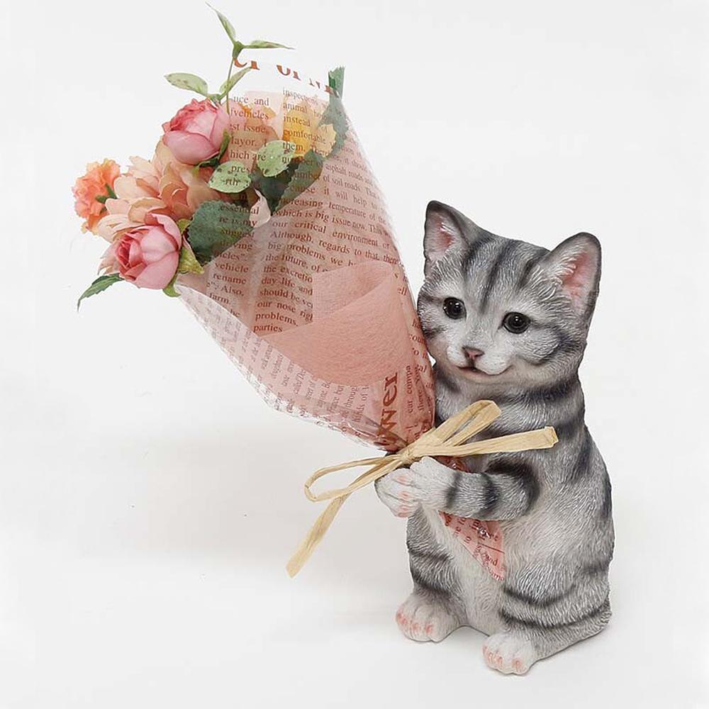 猫オブジェ(CTミニョンブーケねこ)アメショ