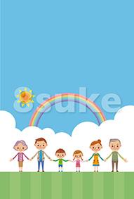 イラスト素材:草原に立つ幸せ家族(ベクター・JPG)