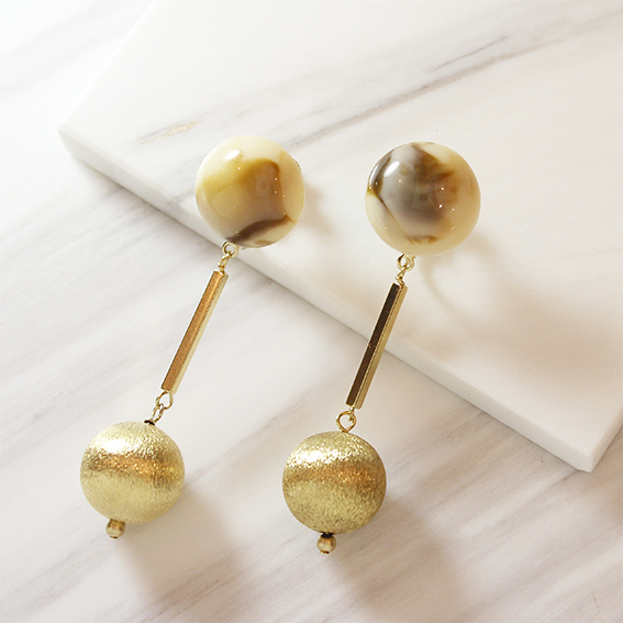 marble&gold イヤリング_wh