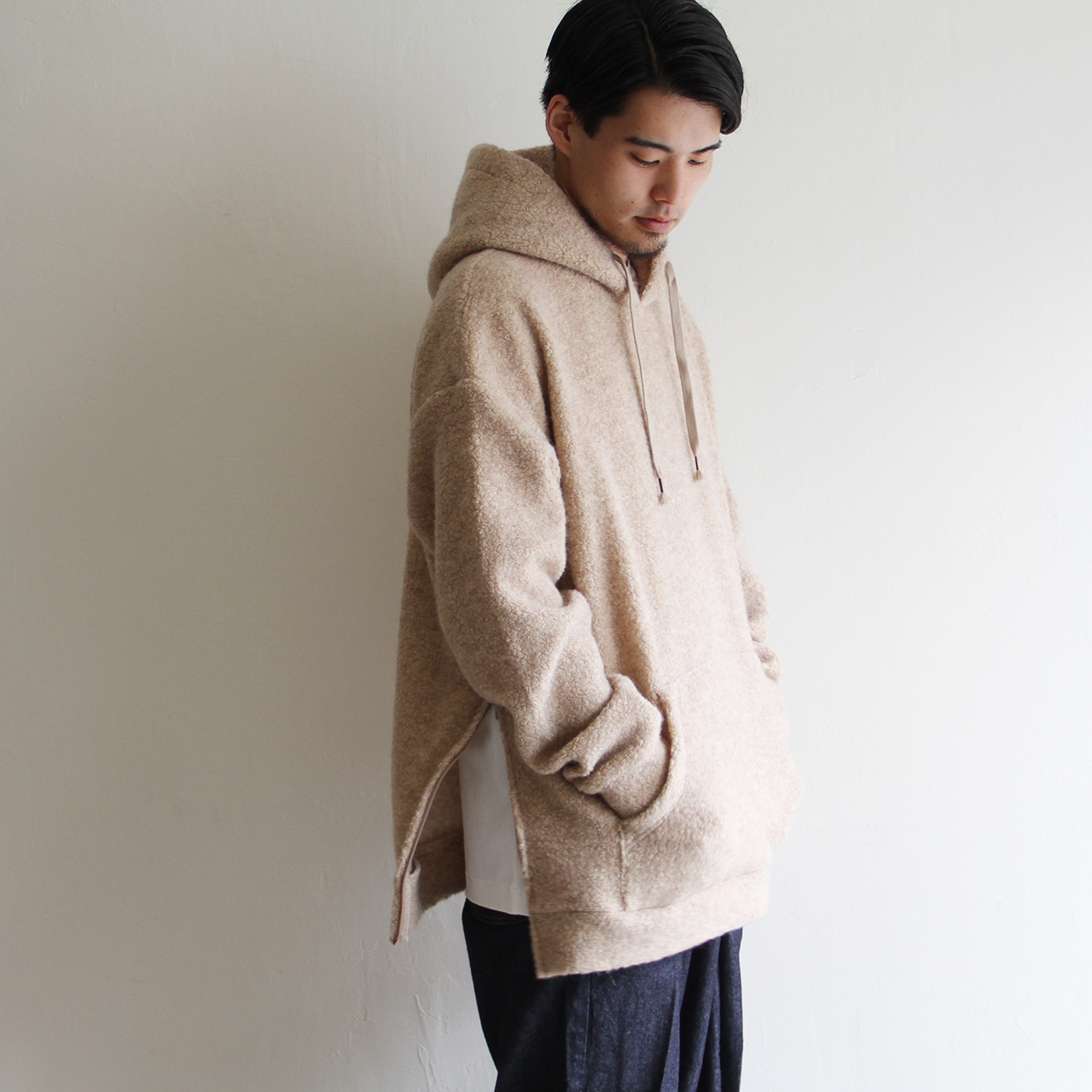 is-ness【 mens 】wool pile sweat hoodie